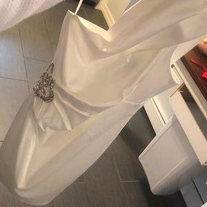 David's Bridal white satin dress with detail